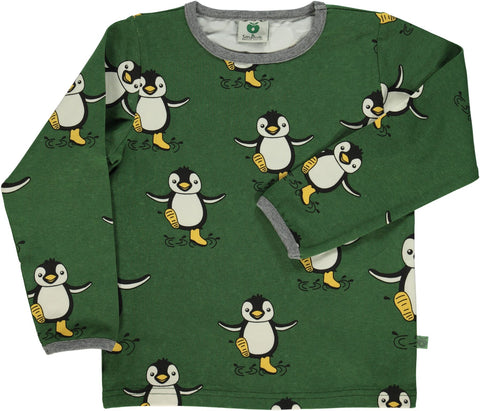 Smafolk Longsleeve Pinguin Green/Yellow - Groen Shirt Gele Pinguins
