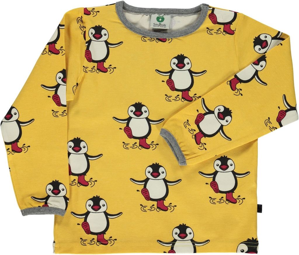 Smafolk Longsleeve Pinguin Ochre/Yellow - Oker Geel Shirt Pinguins