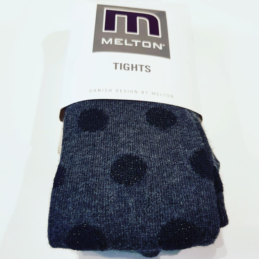 Melton - Tights Grey Black Silver dots