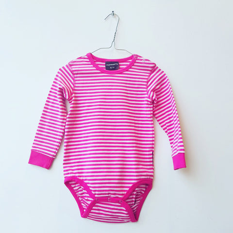 Maxomorra Body Stripes Cerise - Romper Gestreept Roze