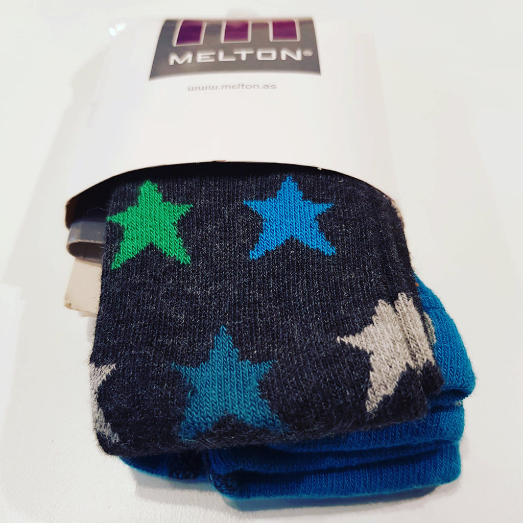 Melton - Tights Grey Blue & Green Stars