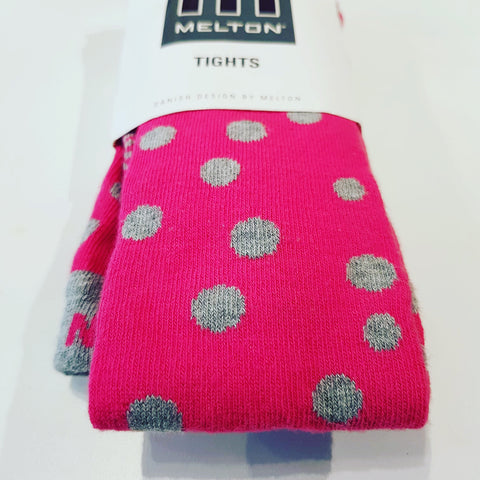 Melton - Tights Cerise Grey Dots