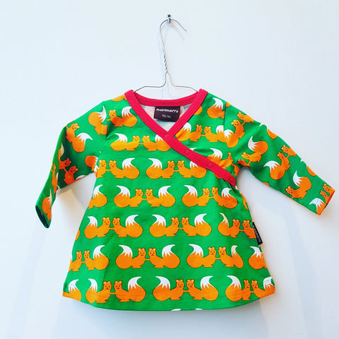 Maxomorra Dress Wrapover LS Squirrels