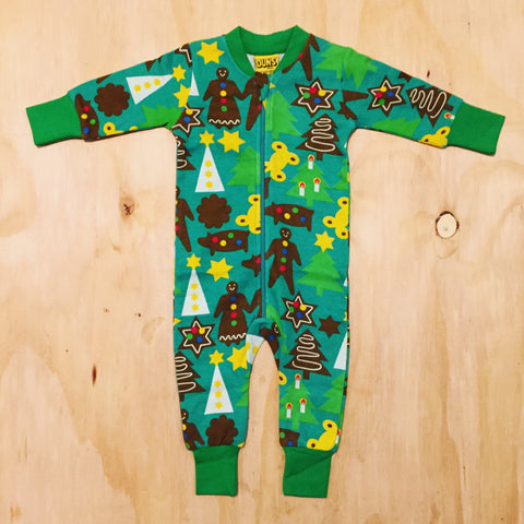 Duns Sweden Zipsuit Christmas Green - Jumpsuit Kerst