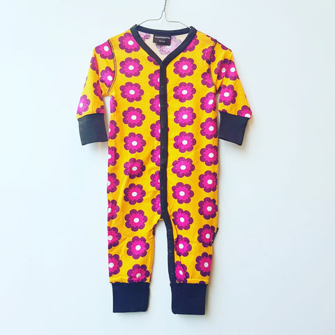 Maxomorra Jumpsuit Button Petunia