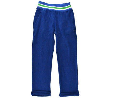 Baba Babywear - Boys Pants Speckled Blue Terry - Badstof Broek Blauw