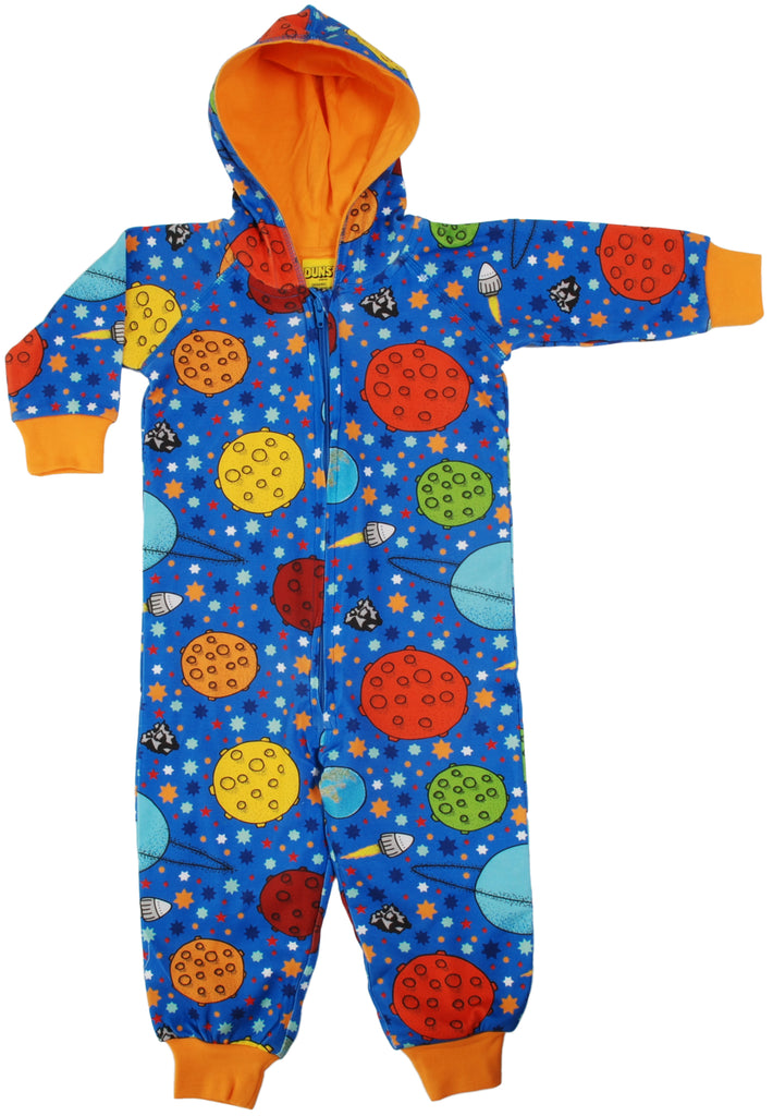 Duns Sweden - Onesie Lost In Space Blue - Pak Ruimte Oranje Voering