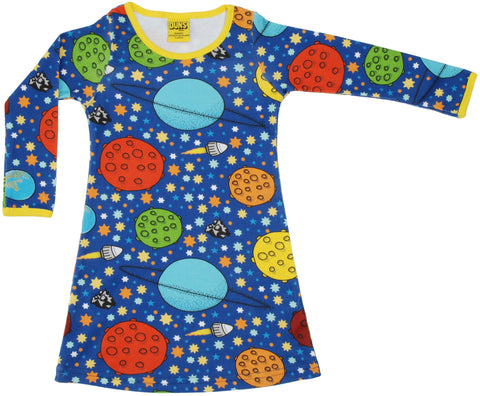 Duns Sweden - Longsleeve Dress Lost in Space - Jurk Planeten/Ruimte