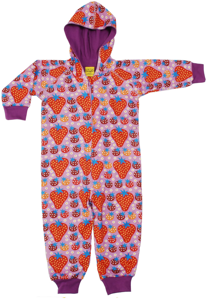 Duns Sweden - Onesie Strawberry Fields Light Purple - Lined Suit Aardbeitjes Paars/Roze