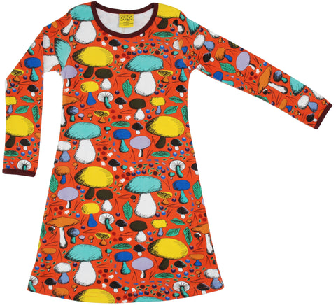 Duns Sweden - Longsleeve Dress Mushroom Forest Dark Orange - Paddenstoelen Oranje