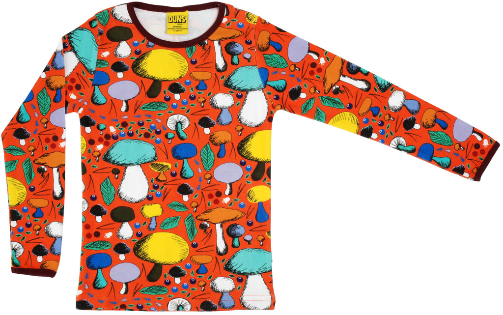 Duns Sweden - Longsleeve Mushroom Forest Dark Orange - Paddenstoelen