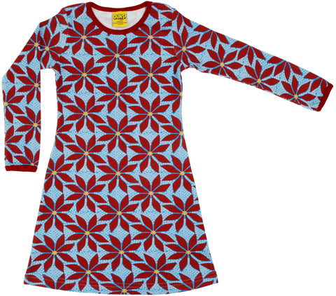 Duns Sweden - Longsleeve Dress Poinssettia - Kerststerren Lichtblauw
