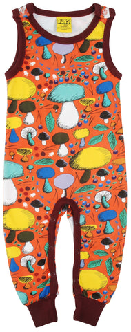 Duns Sweden - Playsuit Mushroom Forest Dark Orange -  Dungaree Paddenstoelen