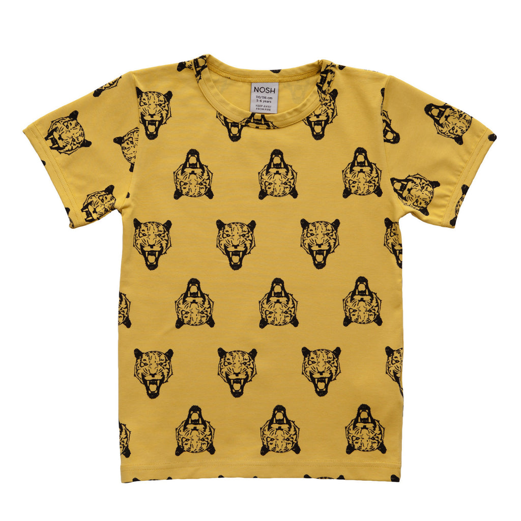 Nosh Organics T-Shirt Tiger Yellow