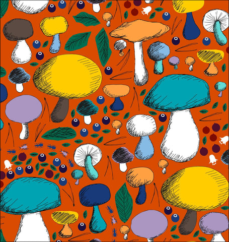 Duns Sweden - Onesie Mushroom Forest Dark Orange - Huispak Paddenstoelen