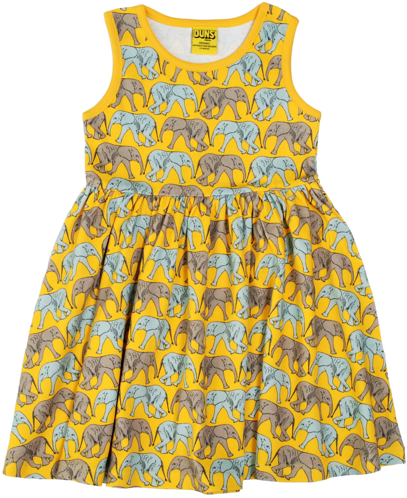 Duns Sweden - Zwierjurk Olifanten Geel Twirl Dress Elephants Yellow
