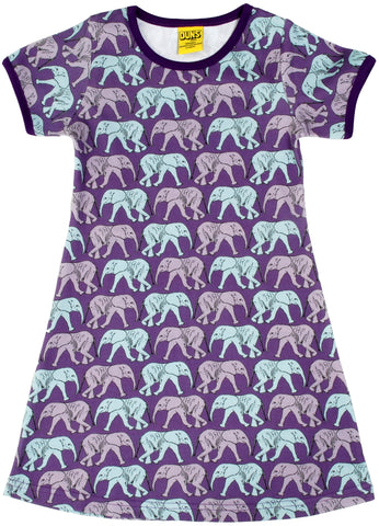 Duns Sweden - Short Sleeve Dress Elephants Purple