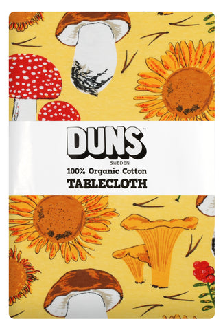 Duns Sweden Tablecloth Sunflower & Mushroom Sunshine Yellow - Tafelkleed Zonnebloemen en Paddenstoelen