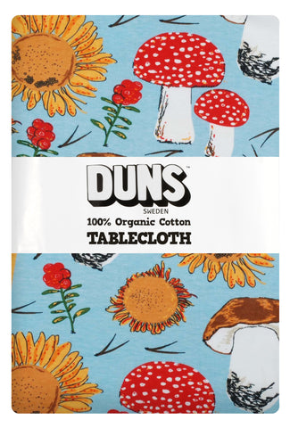 Duns Sweden Tablecloth Sunflower & Mushroom Sky Blue - Tafelkleed Zonnebloemen en Paddenstoelen