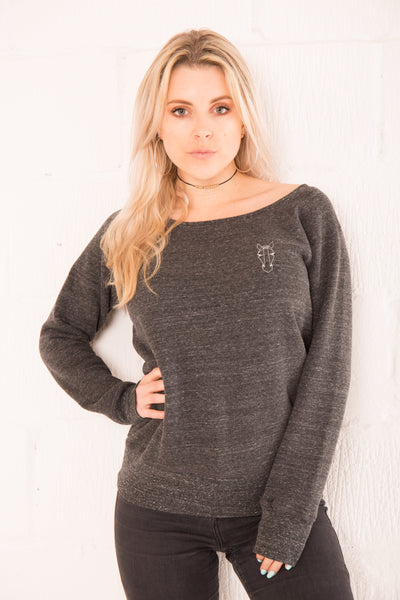 The Women's Asta Wide Neck Jumper - Charcoal
