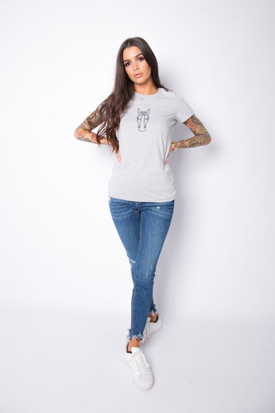 Women's Heather fitted Tee - Light Grey