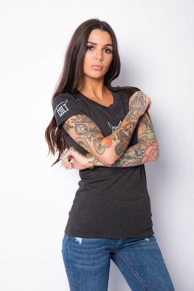 Women's Heather fitted Tee - Dark Grey