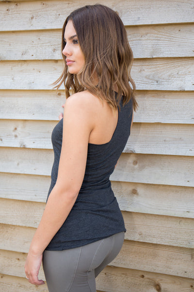 Women's Fitted Racerback LOGO Vest - Charcoal Black