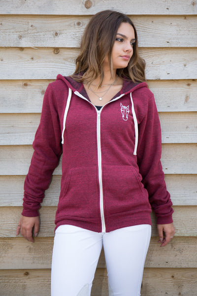 Women's Zip Hoodie - Dark Red