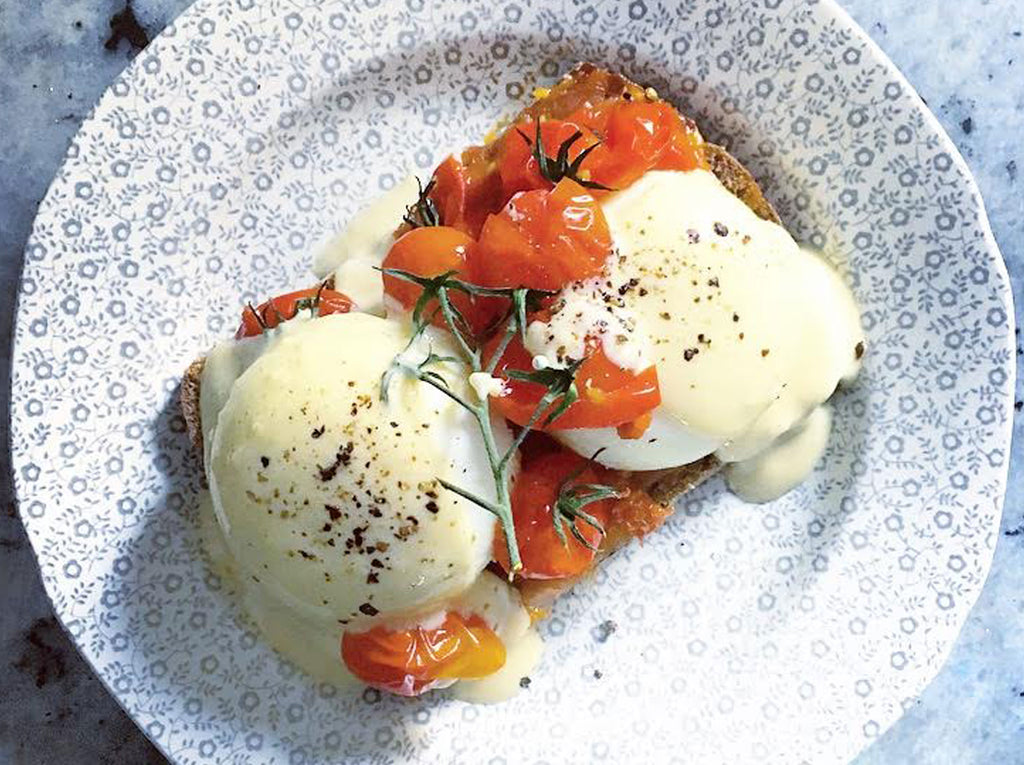 Hot Smoked Salmon and Roasted Tomato Benedict by Tess Ward