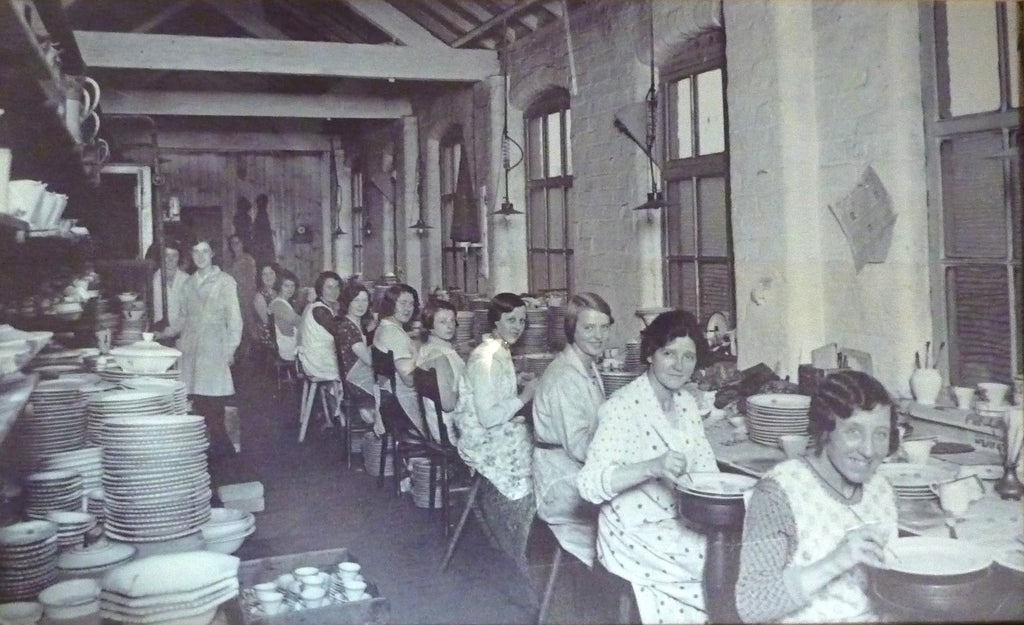 Historic image of Burleigh pottery workers in the Decorating and Banding section of the factory, taken in 1930