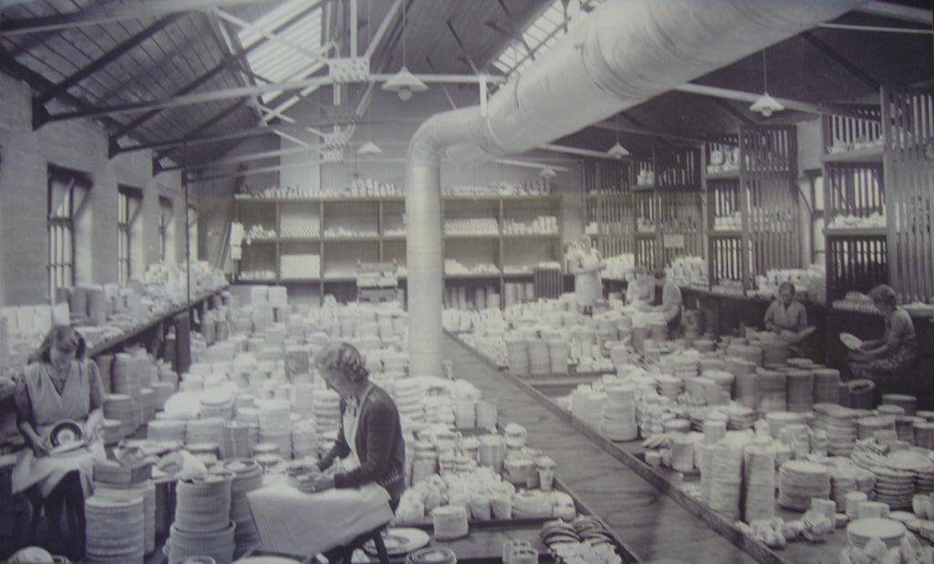1930s image of Burleigh Pottery workers sorting the ware