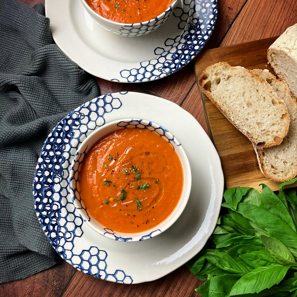 Two Vegans and a Dog Roasted Red Pepper and Tomato Soup