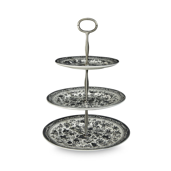 3 Tier Cake Stand - Black Regal Peacock 3 Tier Cake Stand Gift Boxed