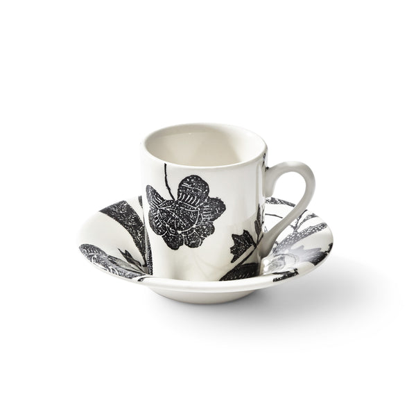 Garden Vine Black Espresso Cup and Saucer