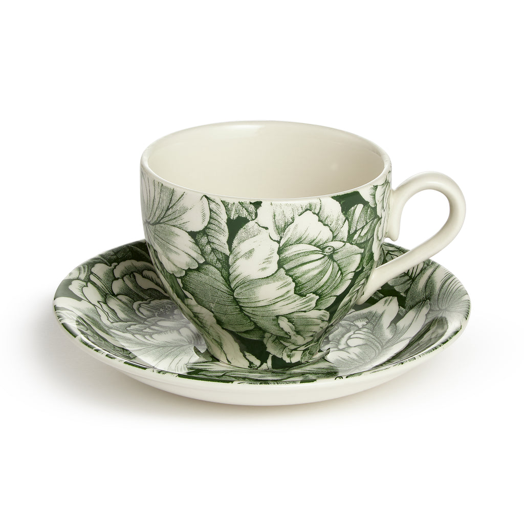 Soho Home Green Hibiscus Teacup and Saucer