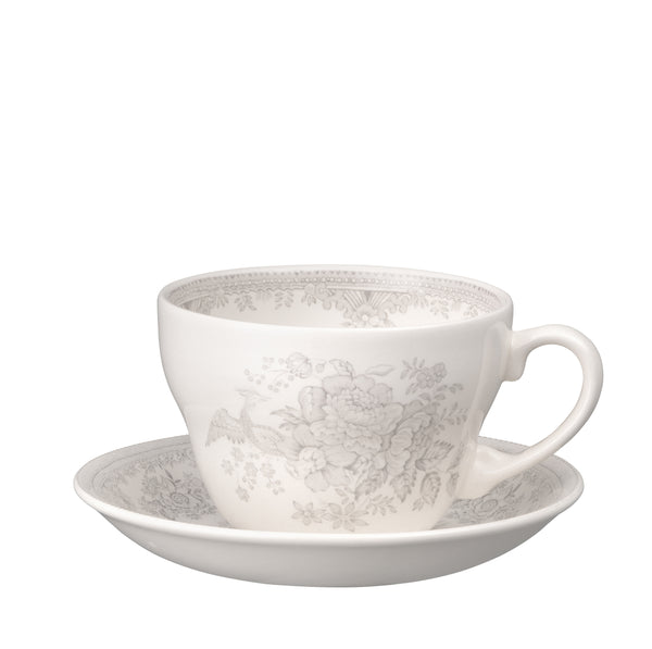 Dove Grey Asiatic Pheasants Breakfast Cup and Saucer