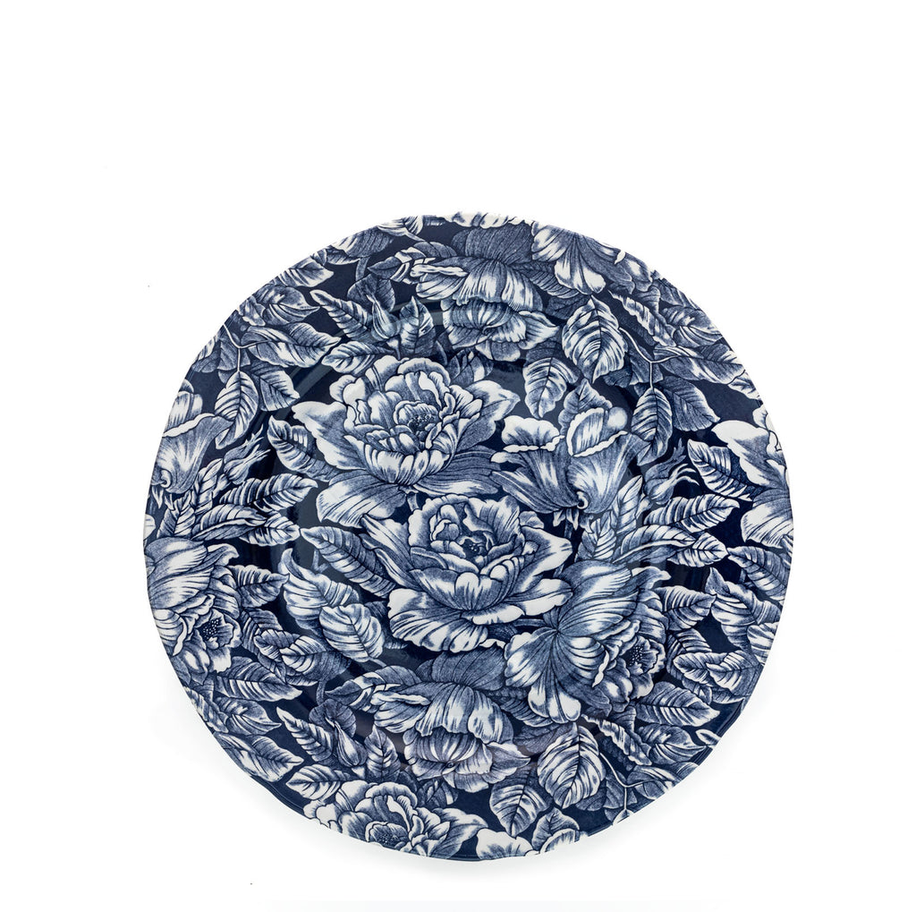 Ink Blue Hibiscus Plate 26.5cm
