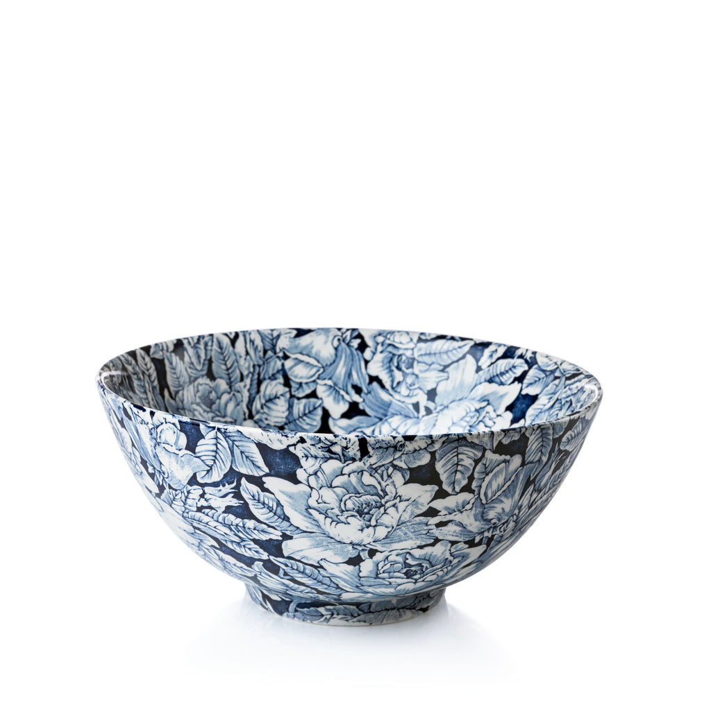 Ink Blue Hibiscus Large Footed Bowl