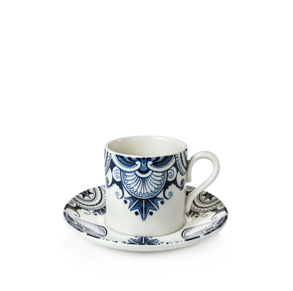 Ink Blue Palisade Coffee Can and Saucer