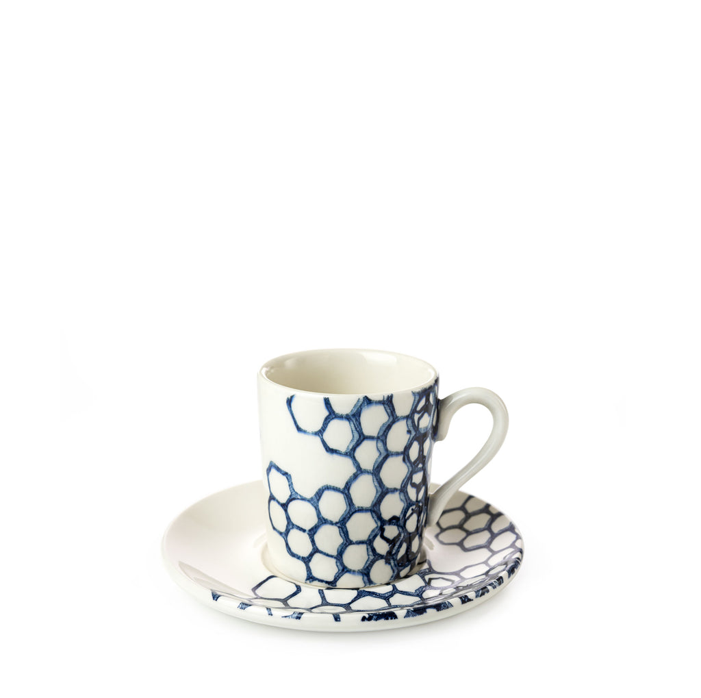 Ink Blue Pollen Espresso Cup and Saucer