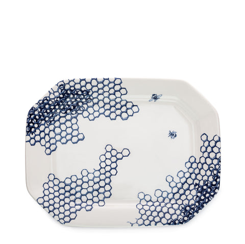Ink Blue Pollen Rectangular Platter 34cm Seconds