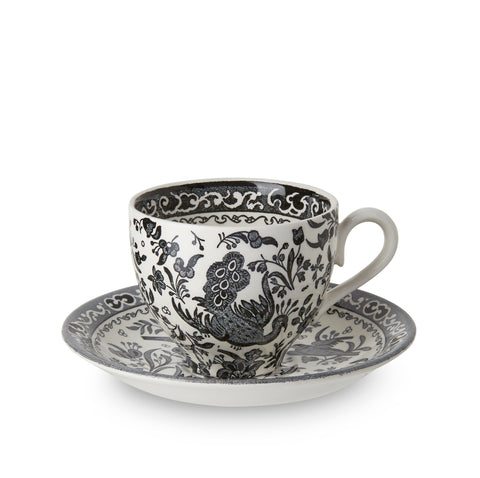 Black Regal Peacock Teacup and Saucer