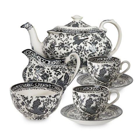 Black Regal Peacock Tea Set