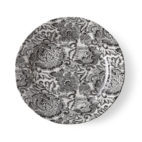 Faded Peony Black Dinner Plate