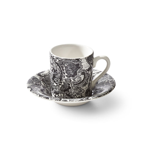 Faded Peony Black Espresso Cup and Saucer