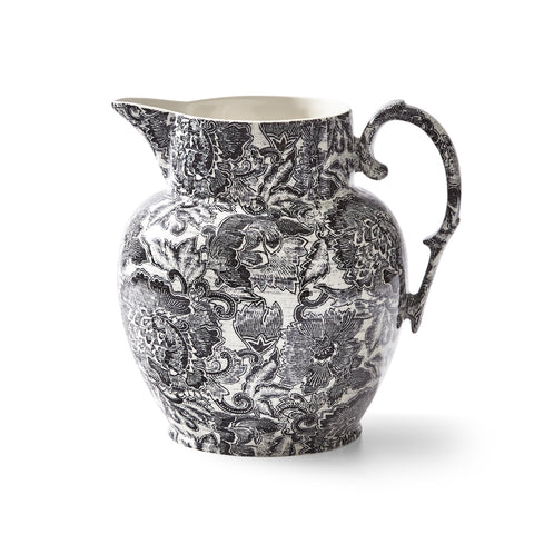 Faded Peony Black Etruscan Pitcher