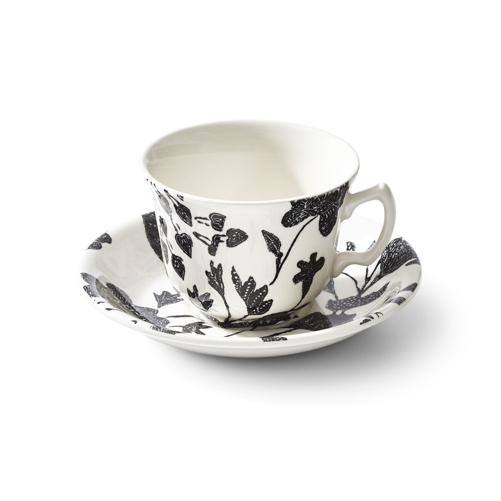 Garden Vine Black Teacup and Saucer