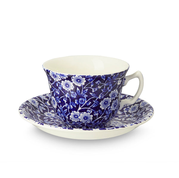 Blue Calico Tea Cup And Saucer