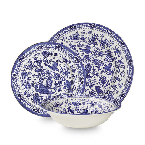 Blue Regal Peacock 12 Piece Place Setting
