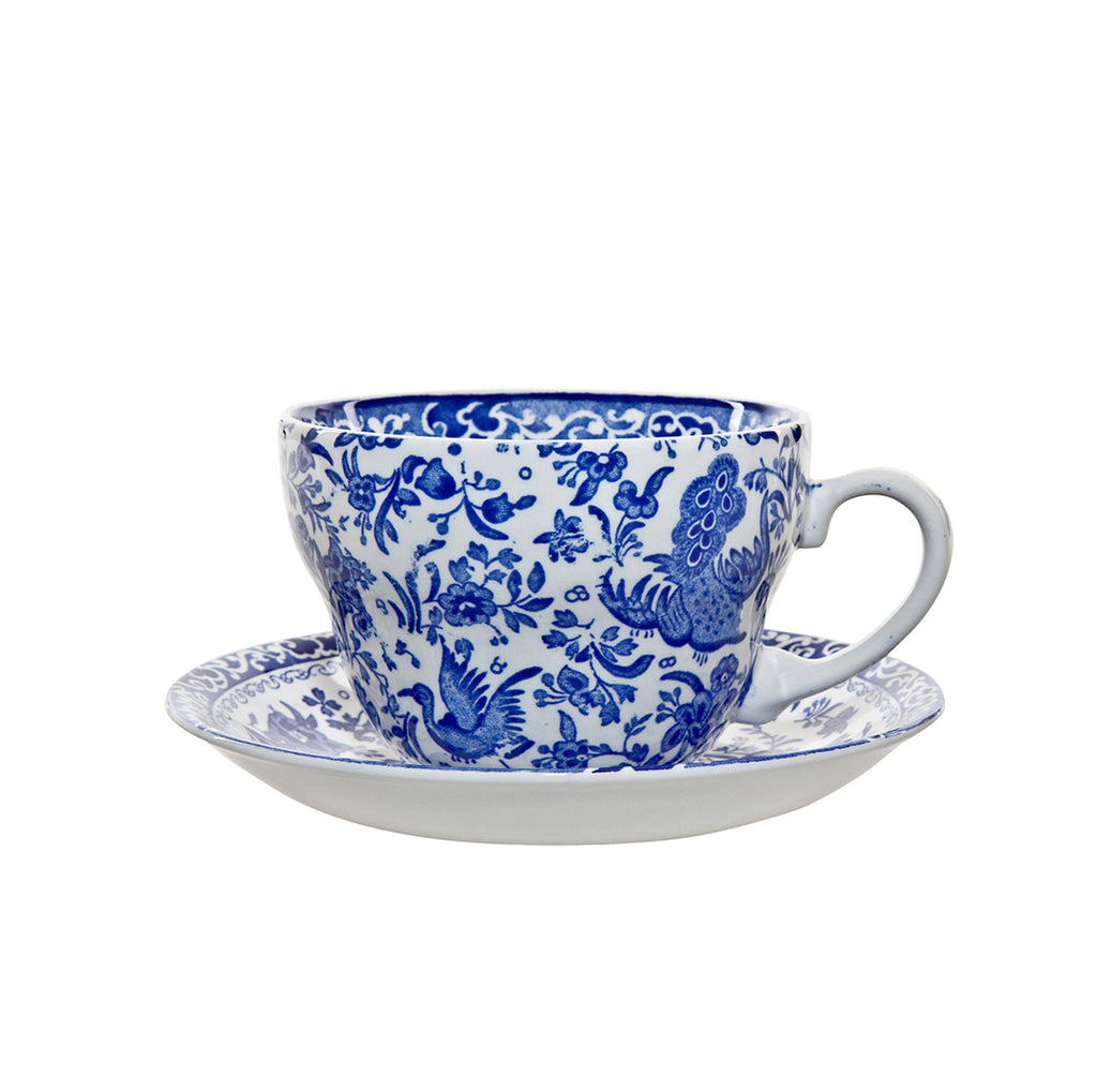 Blue Regal Peacock Breakfast Cup And Saucer